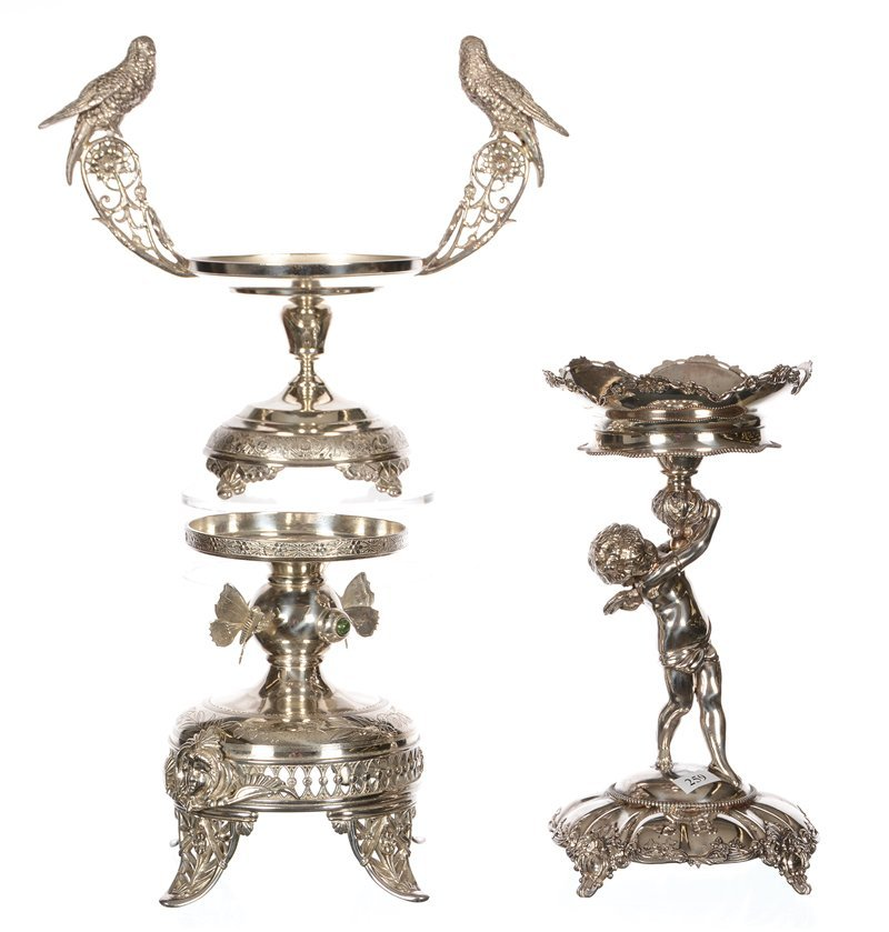 (3) FIGURAL SILVERPLATE STANDS FOR BRIDES BOWLS