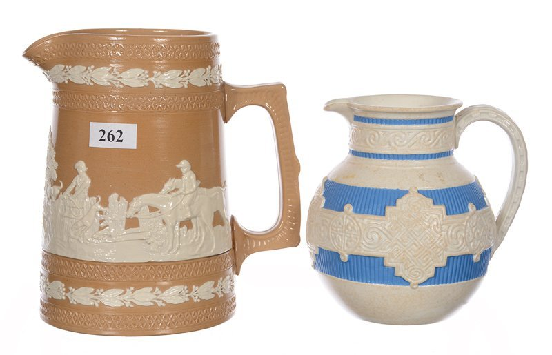 (2) COPELAND RELIEF MOLDED PITCHERS