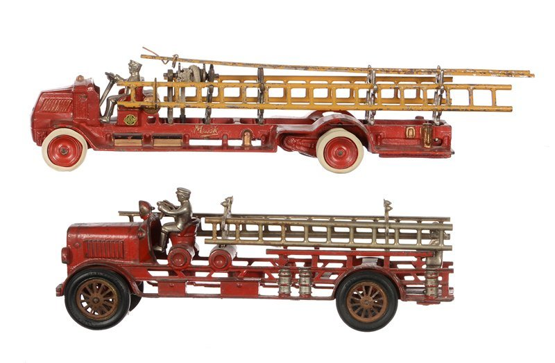 (2) VINTAGE TOY CAST IRON LADDER TRUCKS