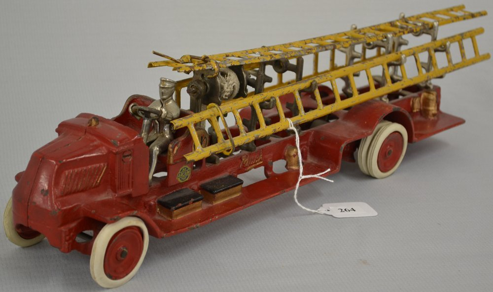 (2) VINTAGE TOY CAST IRON LADDER TRUCKS - 2
