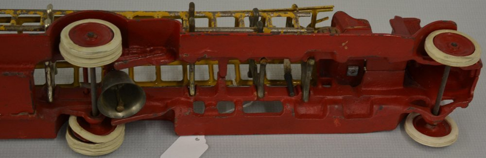 (2) VINTAGE TOY CAST IRON LADDER TRUCKS - 4