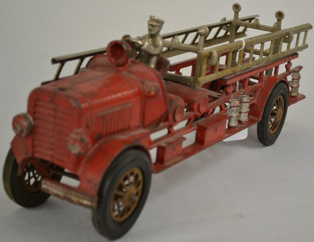 (2) VINTAGE TOY CAST IRON LADDER TRUCKS - 5