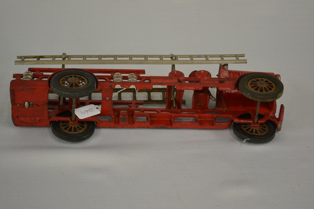 (2) VINTAGE TOY CAST IRON LADDER TRUCKS - 6
