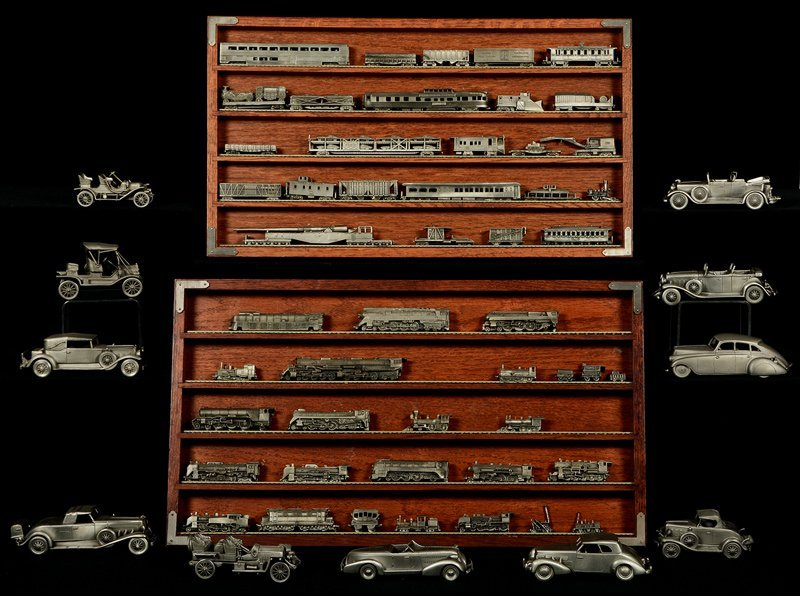 LARGE ASSORTMENT OF FIGURAL PEWTER AUTOMOBILES AND
