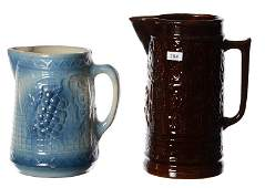 (2) STONEWARE PITCHERS INCLUDING