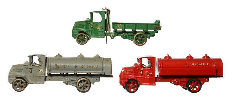 (3) TOY CAST IRON TRUCKS BY ARCADE