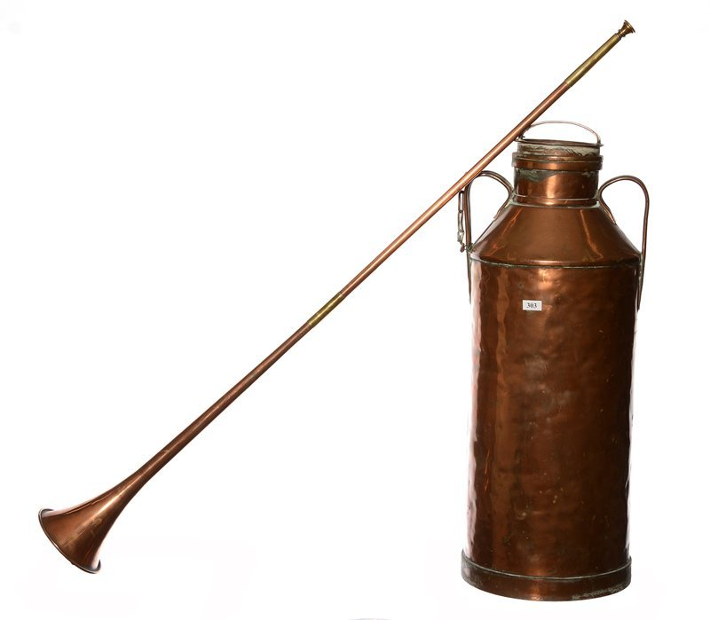 """24"""" COPPER TWO-HANDLED MILK CAN & COPPER 40"""" HORN"""