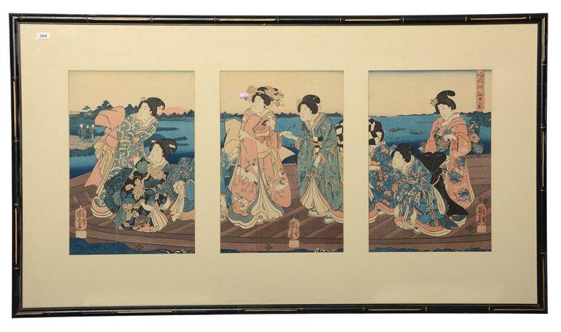 ORIGINAL FRAMED JAPANESE TRIPTYCH WOOD BLOCK