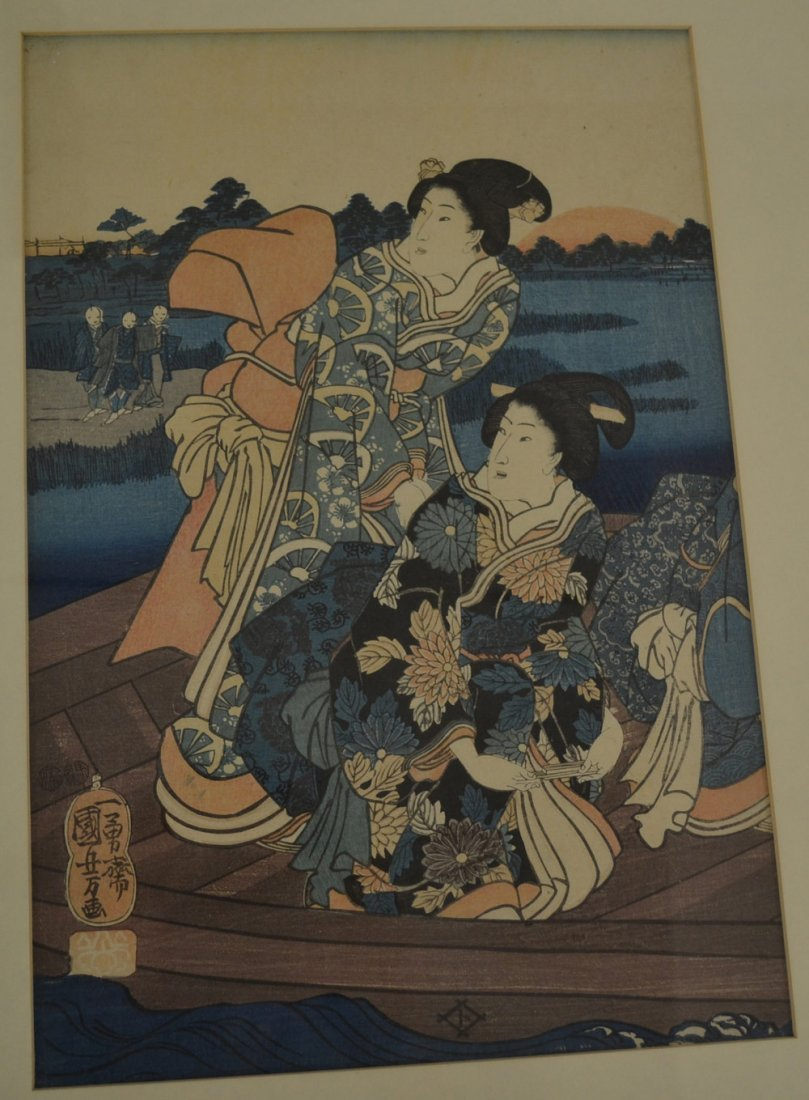 ORIGINAL FRAMED JAPANESE TRIPTYCH WOOD BLOCK - 2