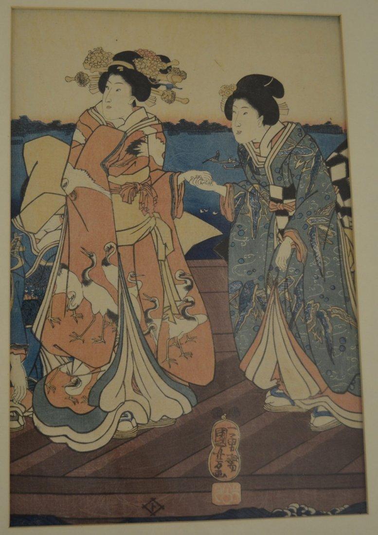 ORIGINAL FRAMED JAPANESE TRIPTYCH WOOD BLOCK - 3