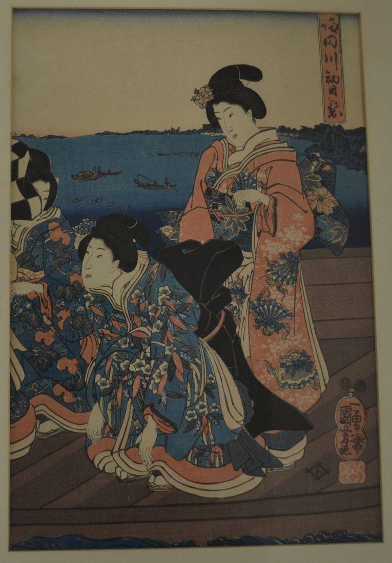 ORIGINAL FRAMED JAPANESE TRIPTYCH WOOD BLOCK - 4