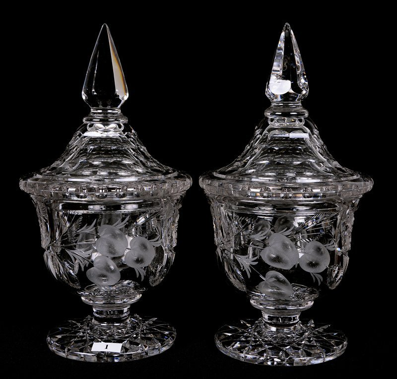 """PAIR 11.5"""" ABCG SIGNED HAWKES COVERED PEDESTAL CANDY"""