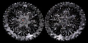 """(2) MATCHING ROUND TRAYS - 11.5"""" - ABCG - SIGNED LIBBEY"""