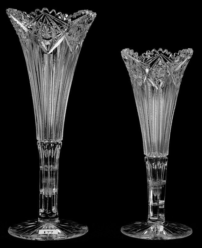 (2) MATCHING TRUMPET VASES - ABCG - HINDOO PATTERN BY