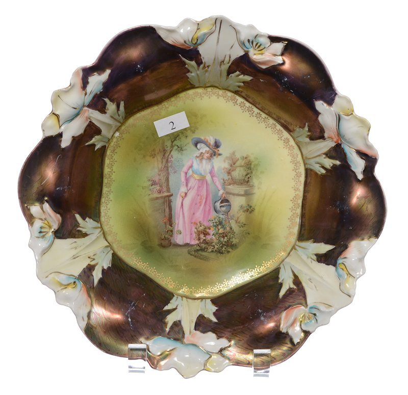 """10.5"""" MARKED ROYAL COBURG FLORAL PRUSSIA MOLD BOWL"""