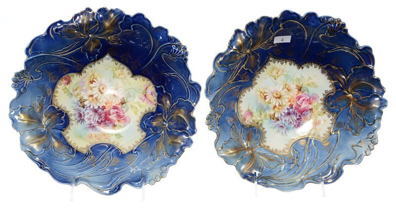 """PAIR 10"""" UNMARKED R.S.PRUSSIA IRIS MOLD VARIATION BOWLS"""