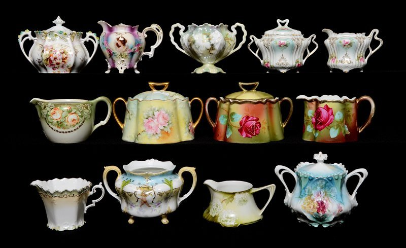 ASSORTED PRUSSIA AND PRUSSIA STYLE CREAMERS AND SUGARS