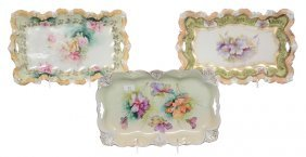(3) UNMARKED R.S.PRUSSIA DRESSER TRAYS INCLUDING