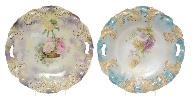 """(2) 11"""" RSP PLUME MOLD TWO-HANDLE CAKE PLATES"""