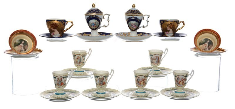 (12) ASSORTED CUPS AND SAUCERS INCLUDING