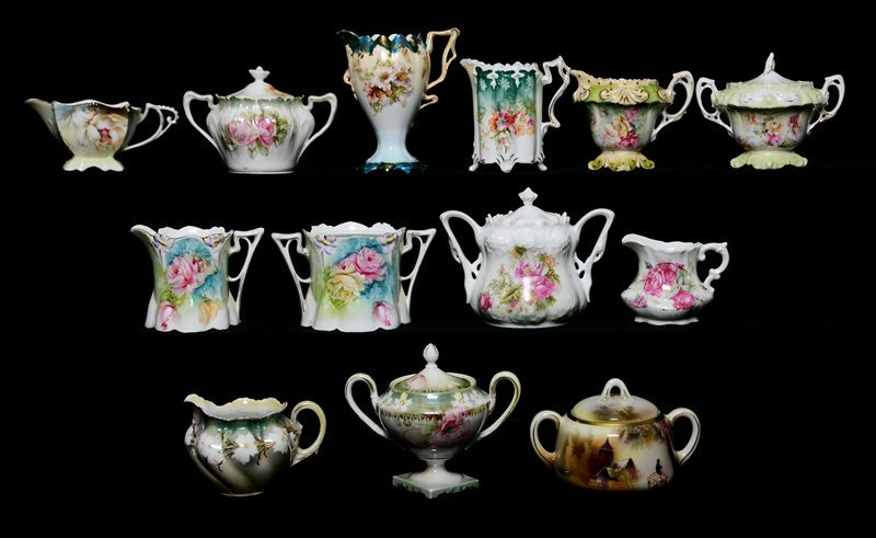 (13) ASSORTED R.S.PRUSSIA AND PRUSSIA STYLE CREAMERS