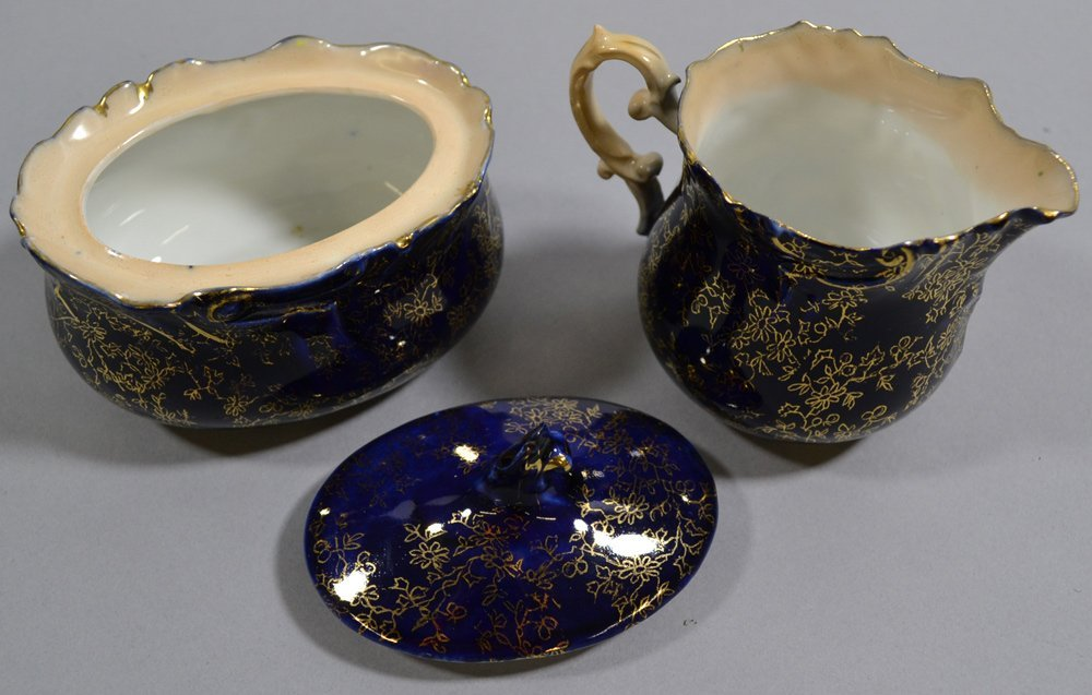 "3.5"" EARLY UNMARKED PRUSSIA CREAMER AND MATCHING SUGAR - 2"