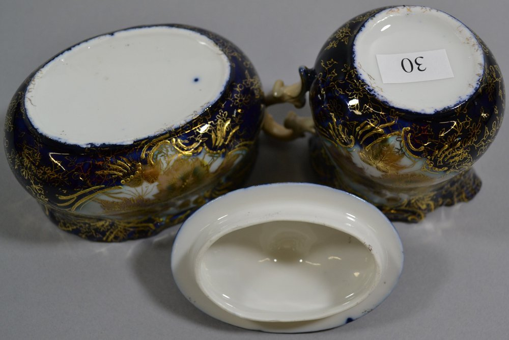 "3.5"" EARLY UNMARKED PRUSSIA CREAMER AND MATCHING SUGAR - 3"