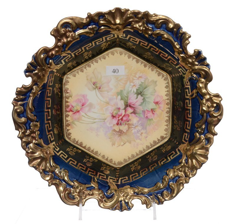 """10.75"""" UNMARKED R.S.PRUSSIA SIX-SIDED BOWL"""