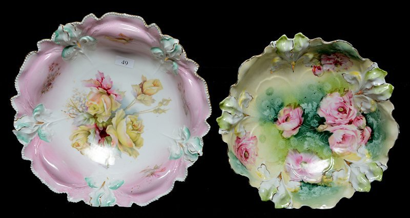 (2) R.S.PRUSSIA IRIS MOLD BOWLS