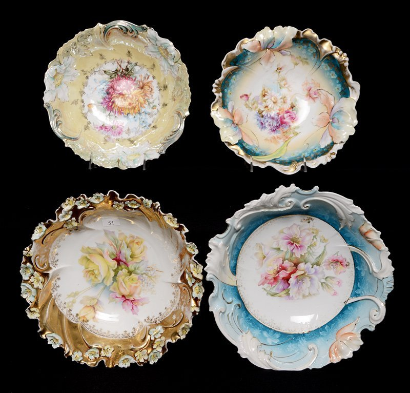 (4) UNMARKED R.S.PRUSSIA BOWLS INCLUDING