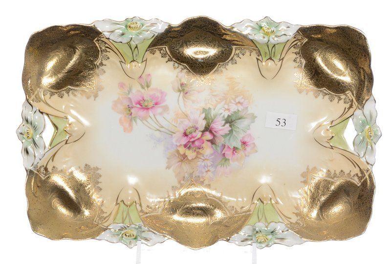 """11.75"""" UNMARKED R.S.PRUSSIA LILY MOLD DRESSER TRAY"""