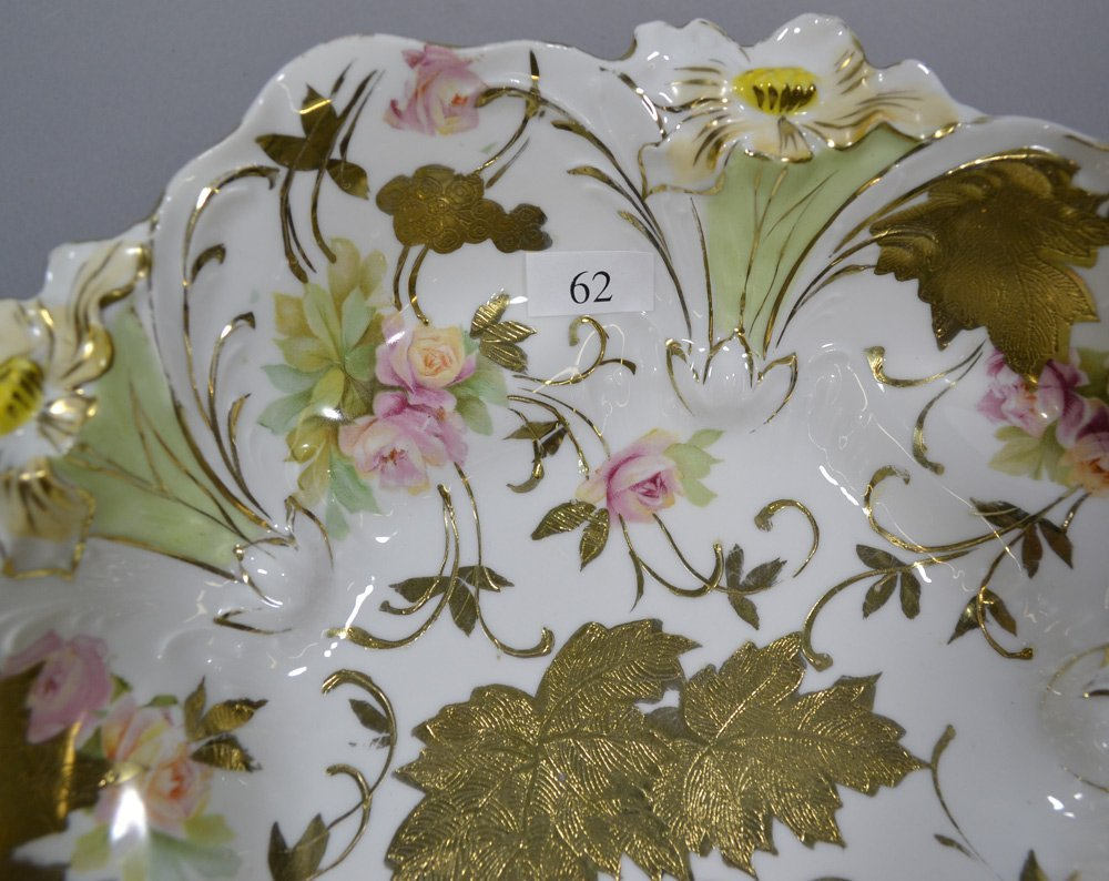 """10.5"""" UNMARKED R.S.PRUSSIA LILY MOLD FOOTED BOWL - 2"""