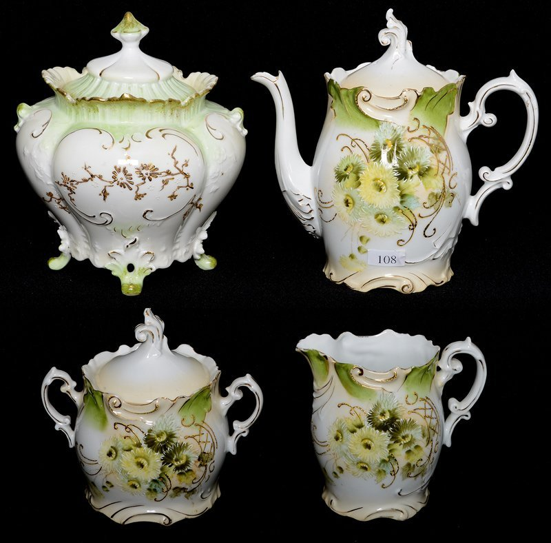 "7.25"" UNMARKED PRUSSIA TEA POT WITH CREAMER AND SUGAR"