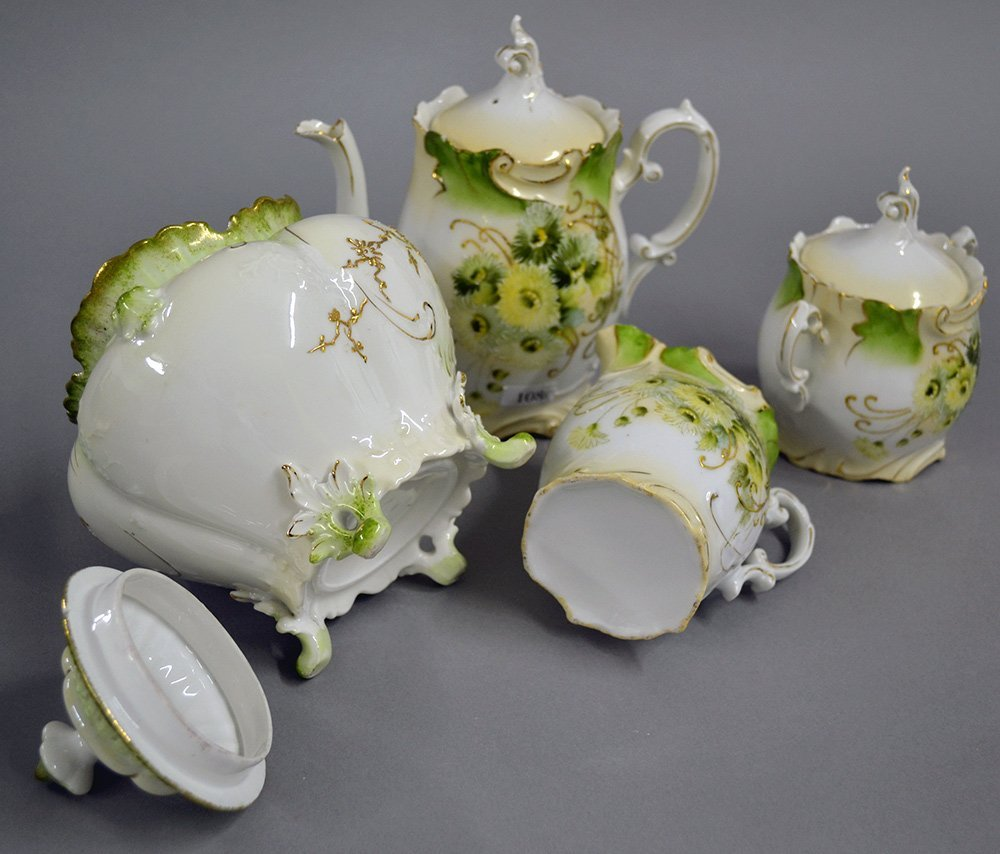 "7.25"" UNMARKED PRUSSIA TEA POT WITH CREAMER AND SUGAR - 2"