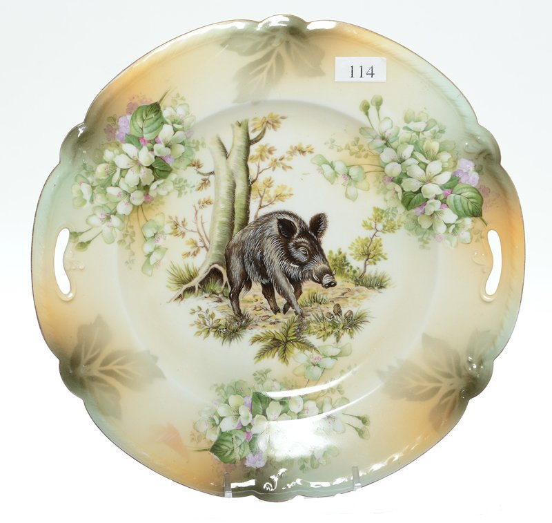 "NOVELTY 9.75"" MARKED RSP TWO-HANDLED CAKE PLATE"