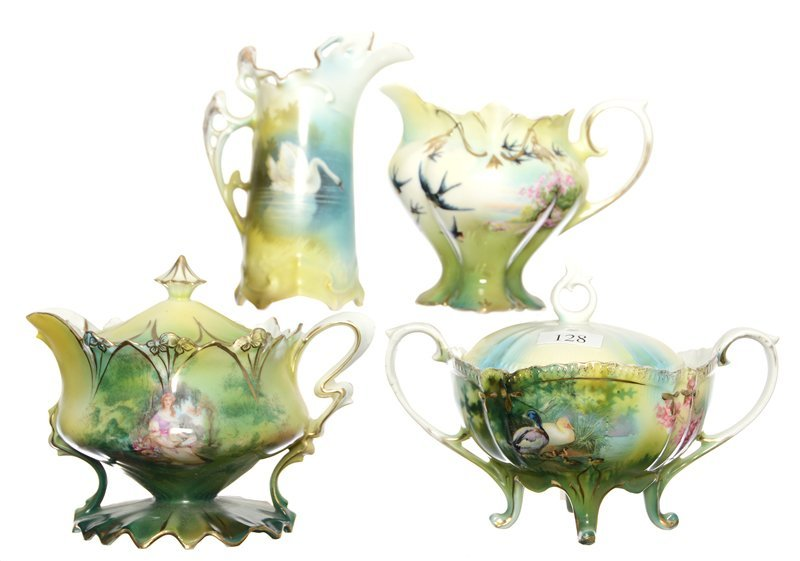 (4) R.S.PRUSSIA ITEMS WITH SCENIC DECOR