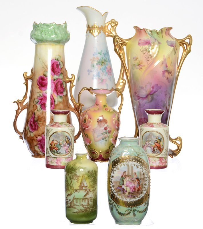 (8) R.S.PRUSSIA AND PRUSSIA STYLE VASES INCLUDING