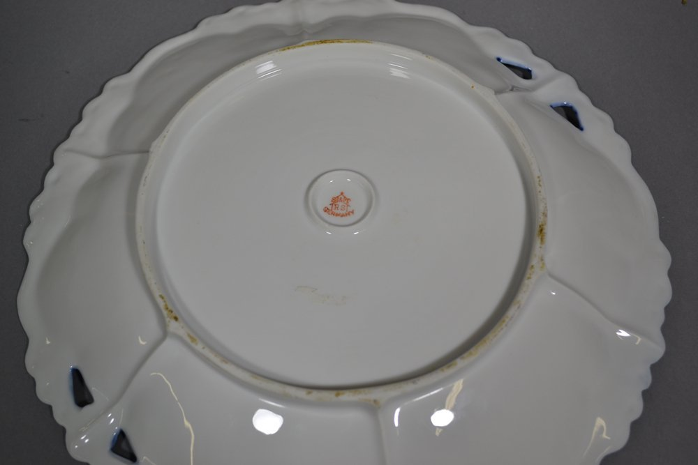 """10.5"""" R.S.STEEPLE TWO HANDLED CAKE PLATE - 2"""