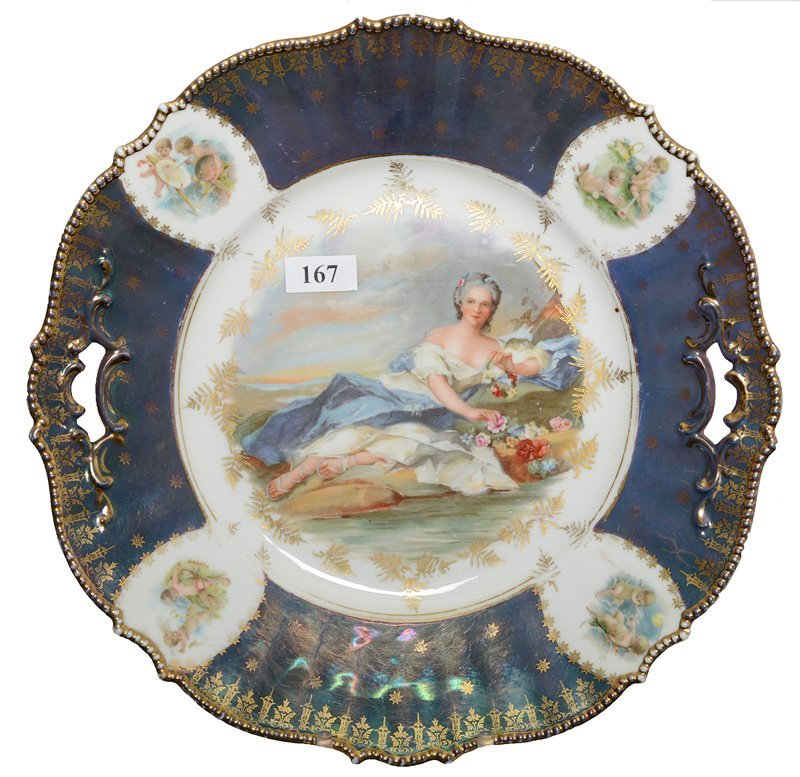 """10.5"""" UNMARKED PRUSSIA MOLD #343 TWO-HANDLED CAKE PLATE"""