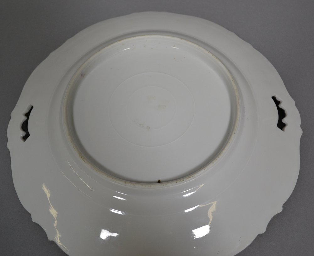 """10.5"""" UNMARKED PRUSSIA MOLD #343 TWO-HANDLED CAKE PLATE - 2"""