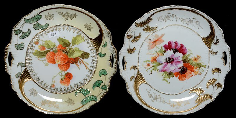 """(2) 10"""" UNMARKED GERMANY TWO HANDLED CAKE PLATES"""