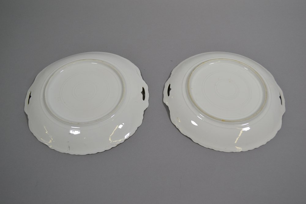 """(2) 10"""" UNMARKED GERMANY TWO HANDLED CAKE PLATES - 2"""
