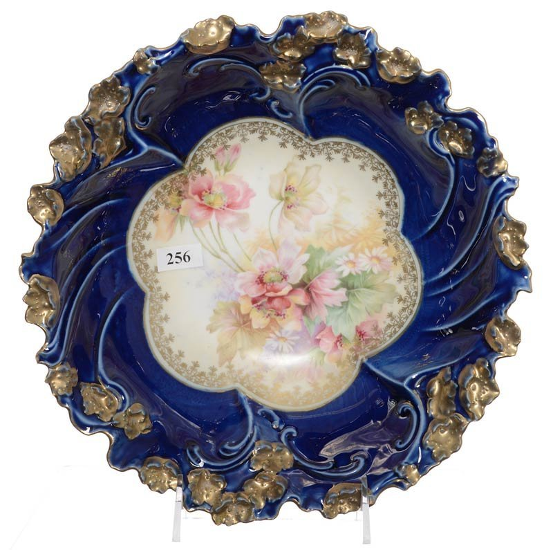 "10.25"" UNMARKED R.S.PRUSSIA FLORAL MOLD BOWL"