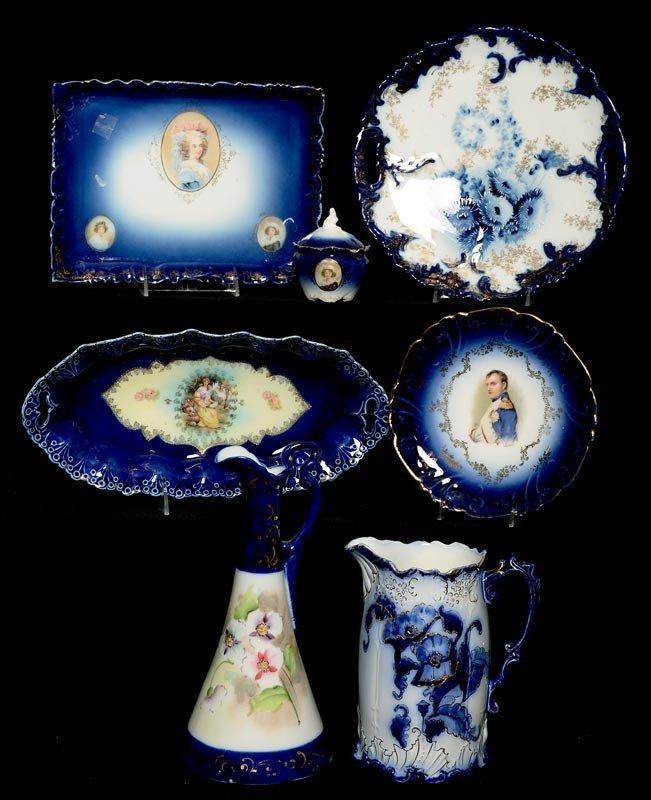 (7) COBALT BLUE & FLOW BLUE PRUSSIA STYLE ITEMS