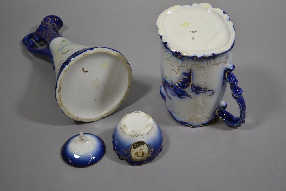 (7) COBALT BLUE & FLOW BLUE PRUSSIA STYLE ITEMS - 3