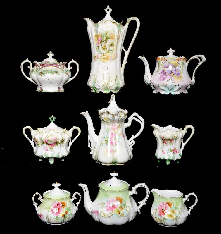 ASSORTED R.S.PRUSSIA TEA POTS, CREAMERS AND SUGARS