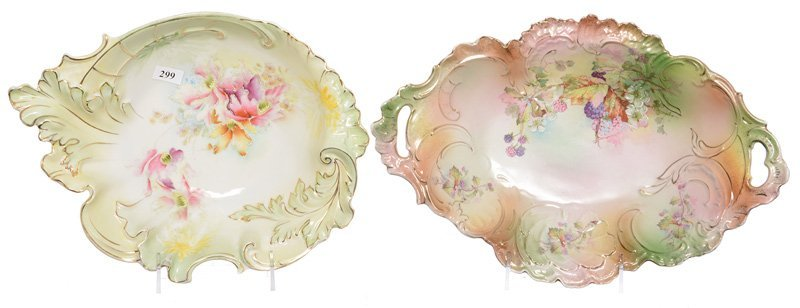 (2) UNMARKED PRUSSIA OVAL BOWLS