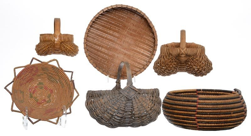 (6) EARLY WOVEN BASKETS INCLUDING