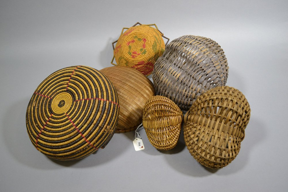 (6) EARLY WOVEN BASKETS INCLUDING - 2