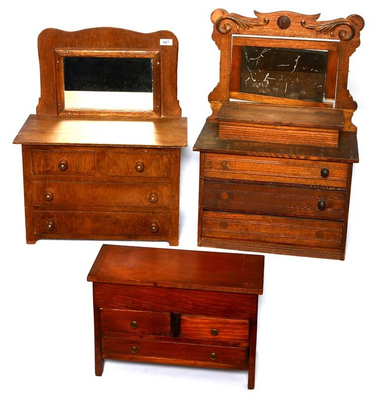 (3) WOODEN VICTORIAN DOLL DRESSERS